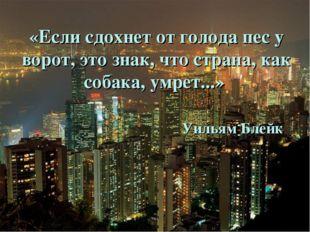 «Если сдохнет от голода пес у ворот, это знак, что страна, как собака, умрет.
