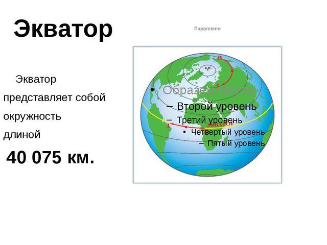 Экватор Экватор представляет собой окружность длиной 40 075 км.