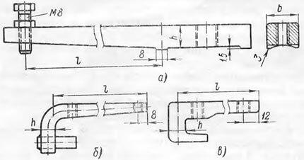 Конструкции центровочных скоб