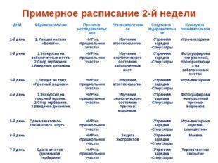Примерное расписание 2-й недели ДНИ Образовательное Проектно-исследовательско