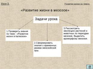 «Развитие жизни в мезозое» Урок 3. Развитие жизни на Земле. Задачи урока 1.Пр
