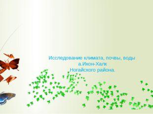 Исследование климата, почвы, воды а.Икон-Халк Ногайского района.