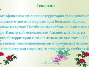Геология  В орографическом отношении территория муниципального образования о