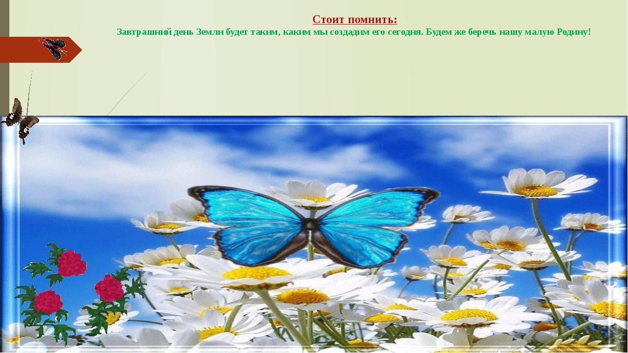 Стоит помнить: Завтрашний день Земли будет таким, каким мы создадим его сегод...