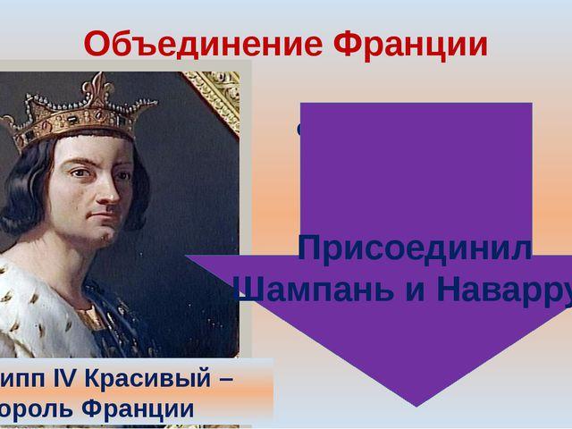 Объединение Франции Людовик IX Cвятой –король Франции. Филипп IV Красивый – к...