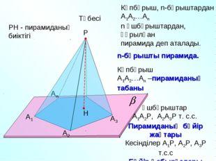 А1 А2 Аn Р А3 Көпбұрыш, n-бұрыштардан А1А2…Аn n үшбұрыштардан, құрылған пирам