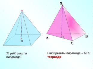 Үшбұрышты пирамида – бұл тетраэдр Төртбұрышты пирамида