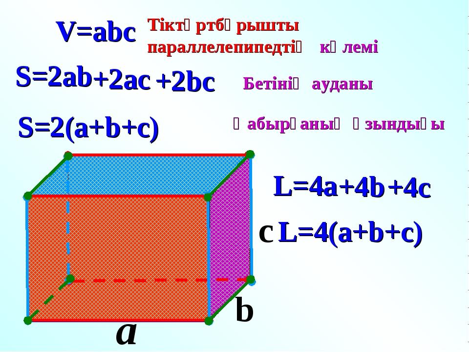 a c V=abc S=2ab S=2(a+b+c) L=4(a+b+c) L=4a b Тіктөртбұрышты параллелепипедтің...