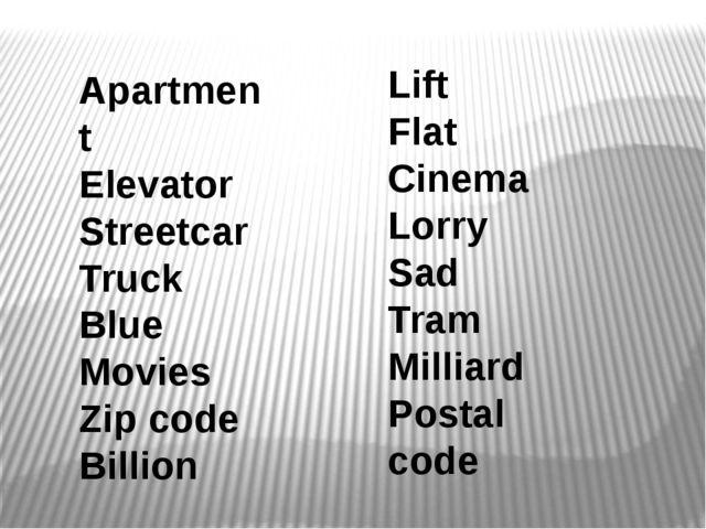 Apartment Elevator Streetcar Truck Blue Movies Zip code Billion Lift Flat Cin...