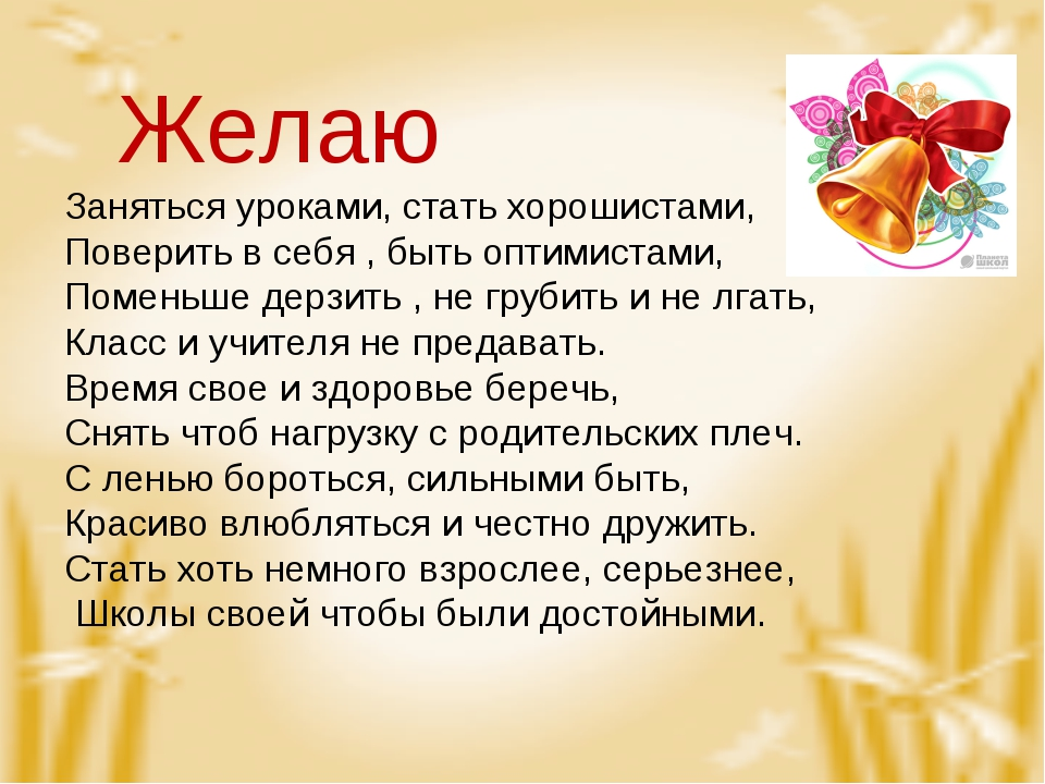 Желаю Заняться уроками, стать хорошистами, Поверить в себя , быть оптимистам...
