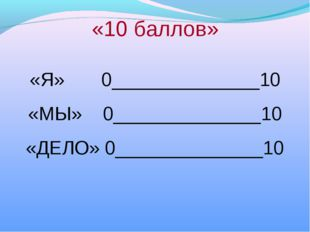 «10 баллов» «Я» 0______________10 «МЫ» 0______________10 «ДЕЛО» 0____________