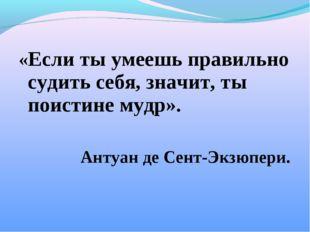 «Если ты умеешь правильно судить себя, значит, ты поистине мудр». Антуан де С