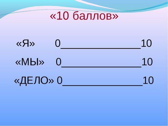 «10 баллов» «Я» 0______________10 «МЫ» 0______________10 «ДЕЛО» 0____________...