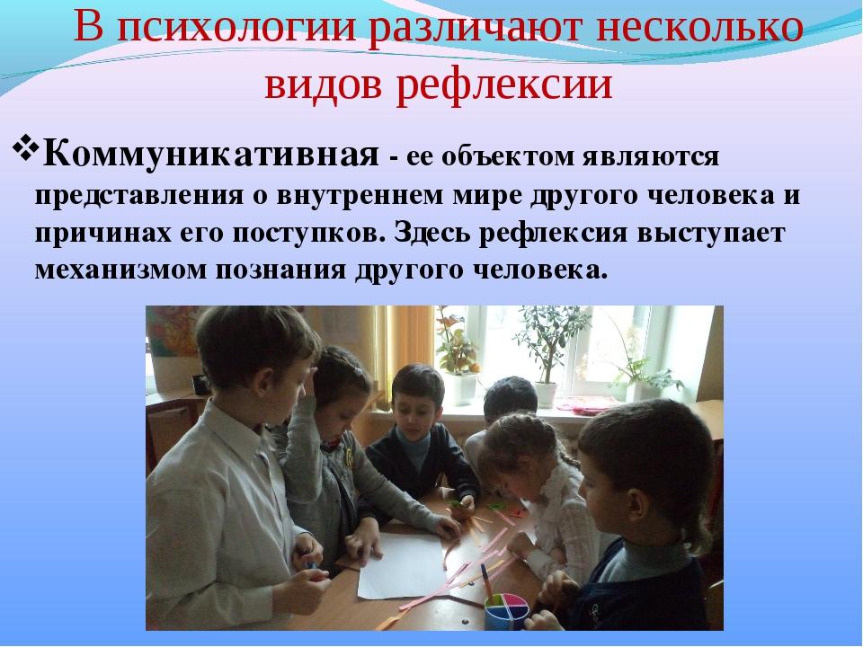 В психологии различают несколько видов рефлексии Коммуникативная - ее объекто...