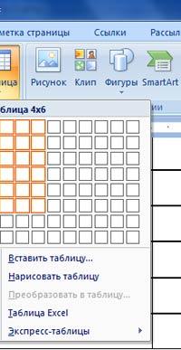Вставка и создание таблиц в документ Word 2007 - 2