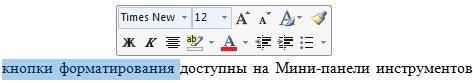 Мини-панель инструментов в Word 2007