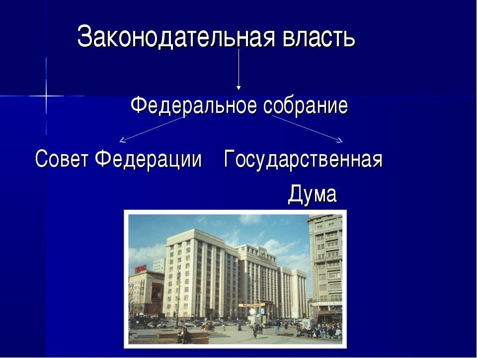 Законодательная власть Федеральное собрание Совет Федерации Государственная...
