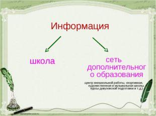 Информация школа сеть дополнительного образования (центр внешкольной работы,