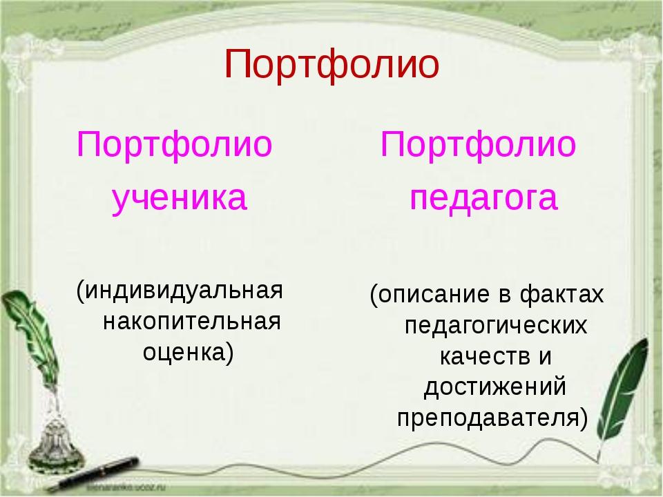 Портфолио Портфолио ученика (индивидуальная накопительная оценка)  Портфолио...
