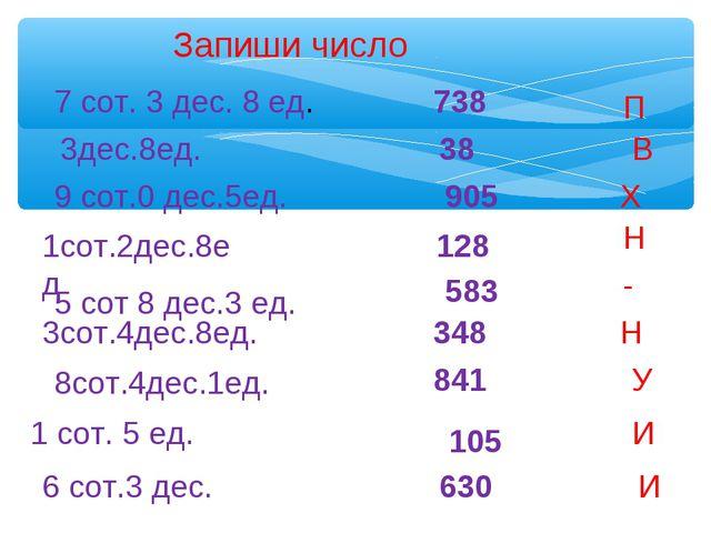 Запиши число 7 сот. 3 дес. 8 ед. 738 3дес.8ед. 38 9 сот.0 дес.5ед. 905 1сот.2...