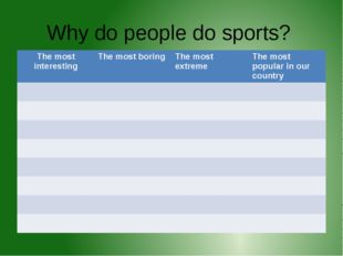 Why do people do sports? The mostinteresting The most boring The most extreme