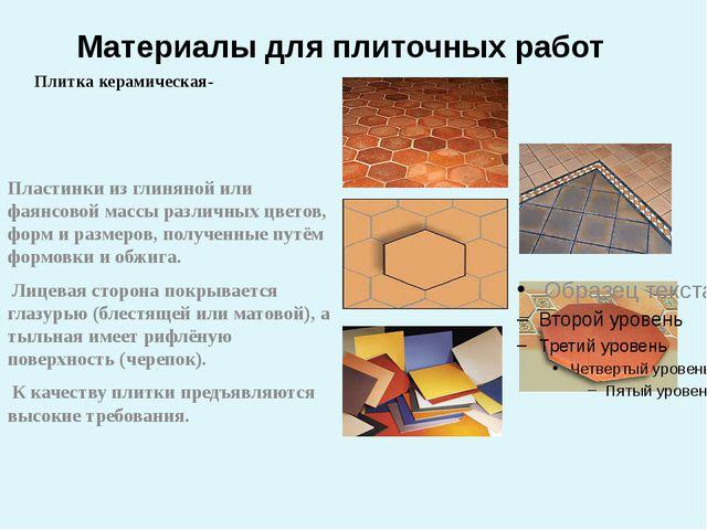 Материалы для плиточных работ Плитка керамическая- Пластинки из глиняной или...