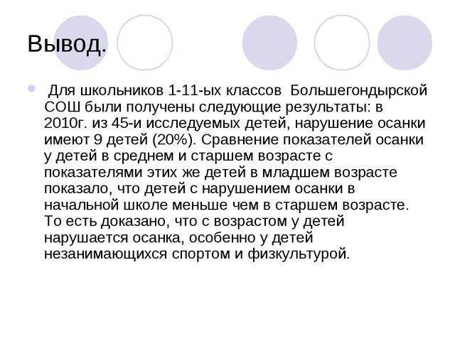 Вывод. Для школьников 1-11-ых классов Большегондырской СОШ были получены след...