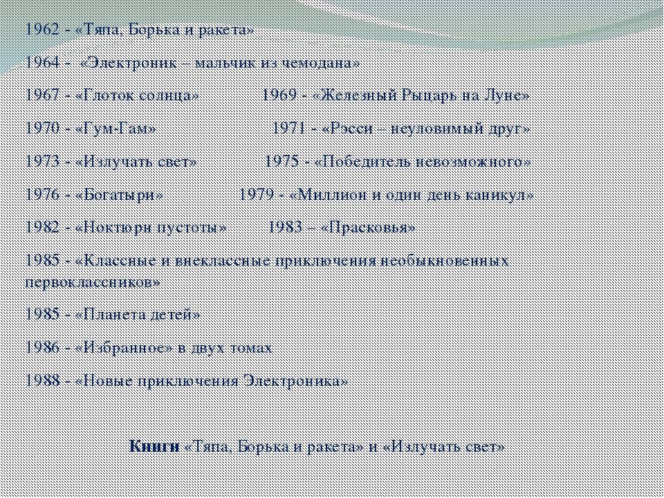 1962 - «Тяпа, Борька и ракета» 1964 - «Электроник – мальчик из чемодана» 1967...