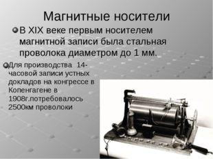 Магнитные носители В XIX веке первым носителем магнитной записи была стальная