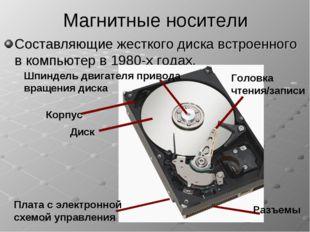 Магнитные носители Составляющие жесткого диска встроенного в компьютер в 1980