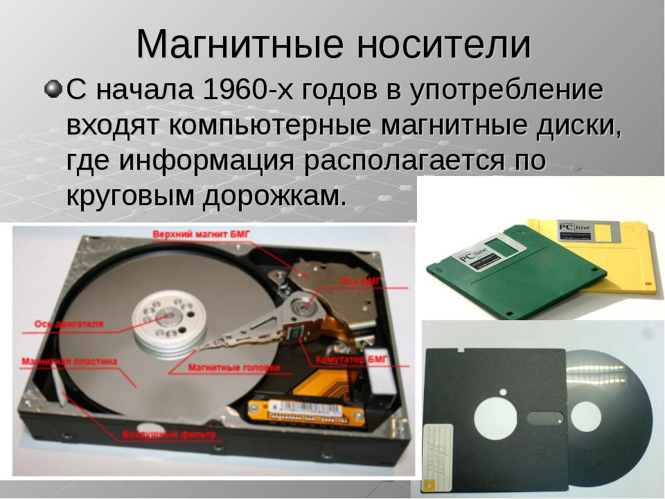 Магнитные носители С начала 1960-х годов в употребление входят компьютерные м...