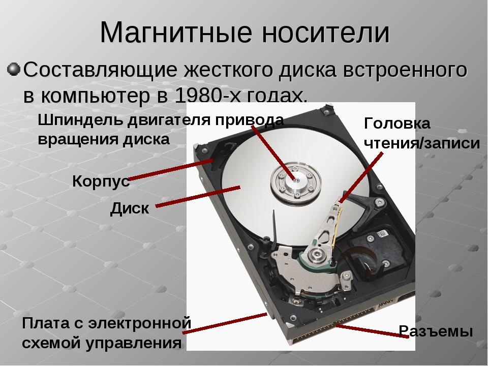 Магнитные носители Составляющие жесткого диска встроенного в компьютер в 1980...