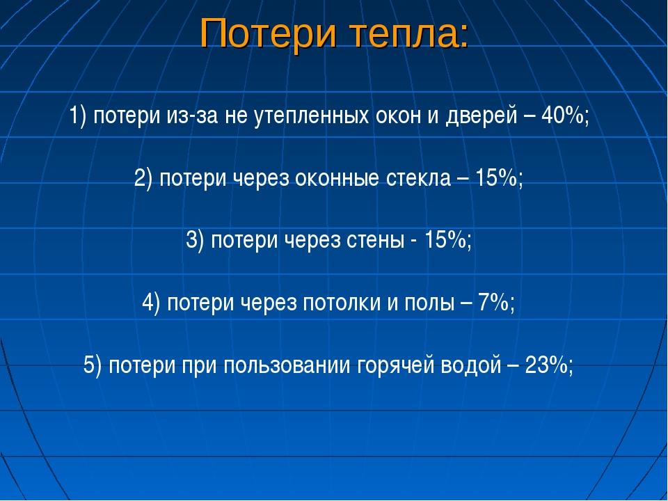 Потери тепла: 1) потери из-за не утепленных окон и дверей – 40%; 2) потери че...