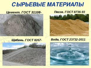 СЫРЬЕВЫЕ МАТЕРИАЛЫ Цемент. ГОСТ 31108-2003 Песок. ГОСТ 8736-93 Щебень. ГОСТ 8