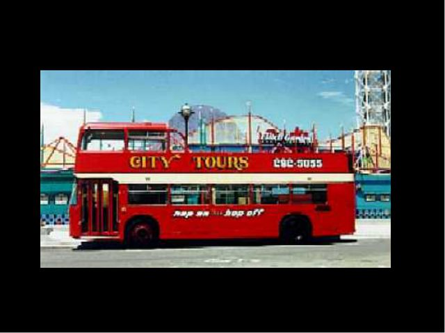 First, let's travel in London on a doubledecker bus.