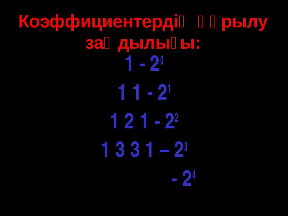 Коэффициентердің құрылу заңдылығы: 1 - 20 1 1 - 21 1 2 1 - 22 1 3 3 1 – 23 - 24