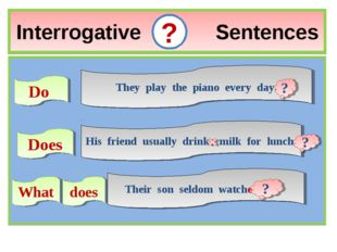 Interrogative Sentences ? Do They play the piano every day. Does His friend u