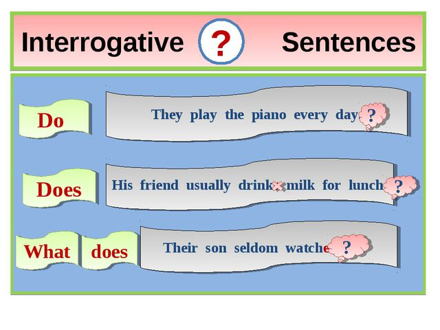 Interrogative Sentences ? Do They play the piano every day. Does His friend u...