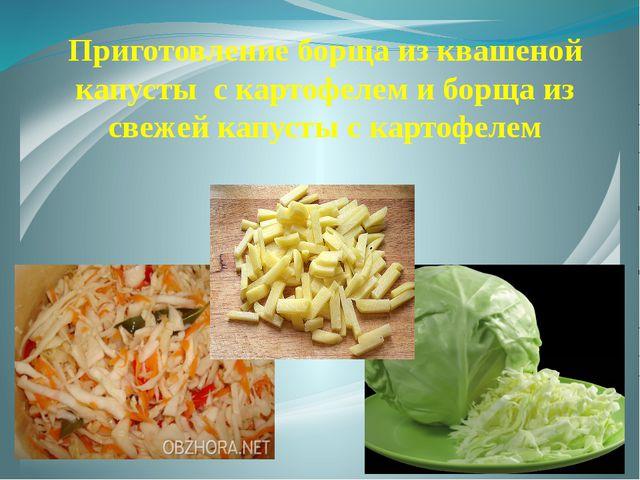 Приготовление борща из квашеной капусты с картофелем и борща из свежей капуст...