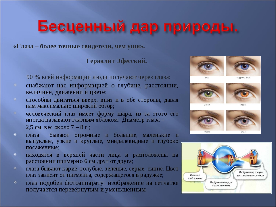 «Глаза – более точные свидетели, чем уши». Гераклит Эфесский. 90 % всей инфор...