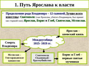 Междоусобица 1015- 1019 гг. 1. Путь Ярослава к власти Продолжение рода Владим