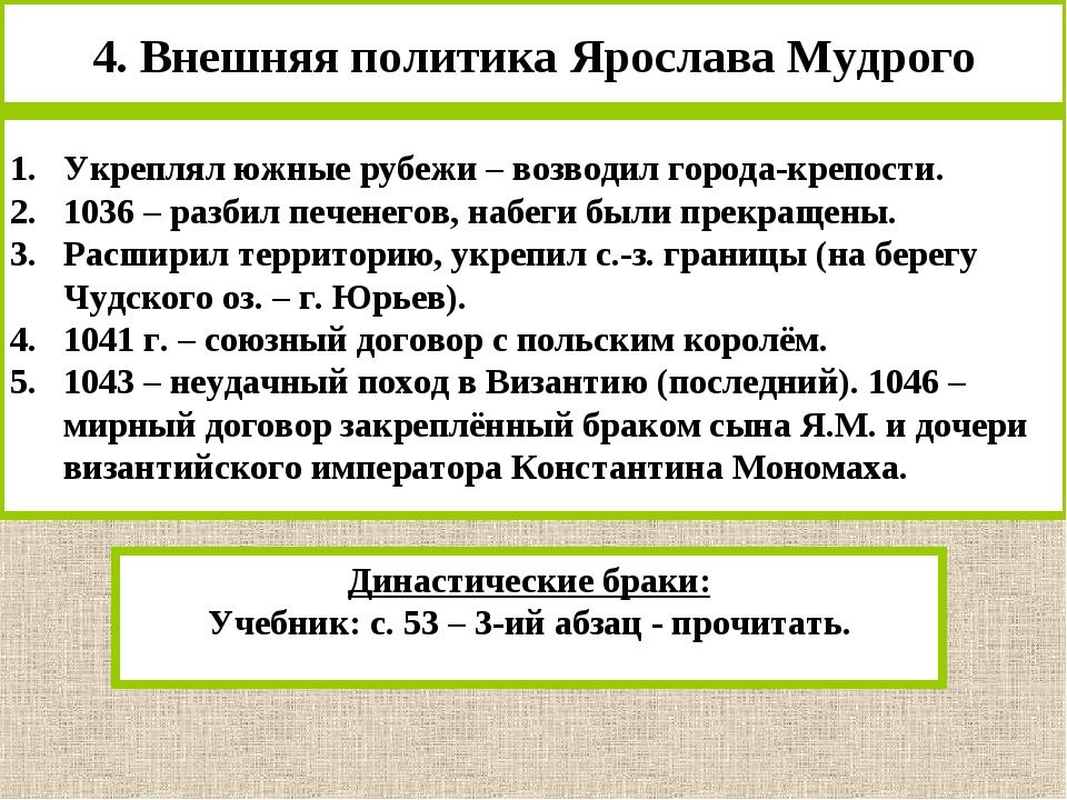 4. Внешняя политика Ярослава Мудрого Укреплял южные рубежи – возводил города-...