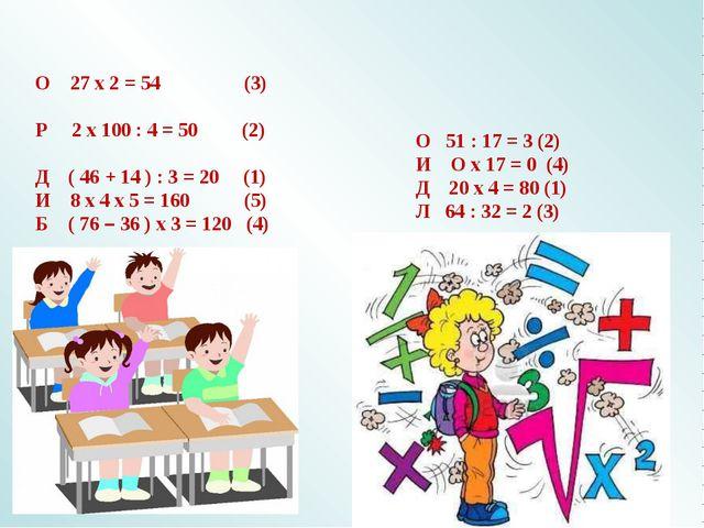 О 27 х 2 = 54 (3) Р 2 х 100 : 4 = 50 (2) Д ( 46 + 14 ) : 3 = 20 (1) И 8 х 4...