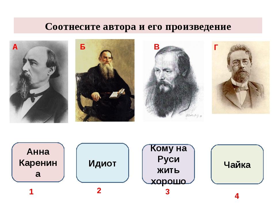 Соотнесите автора и его произведение А Б В Г Анна Каренина Идиот Кому на Руси...