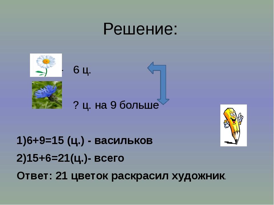Решение: - 6 ц. - ? ц. на 9 больше 1)6+9=15 (ц.) - васильков 2)15+6=21(ц.)- в...
