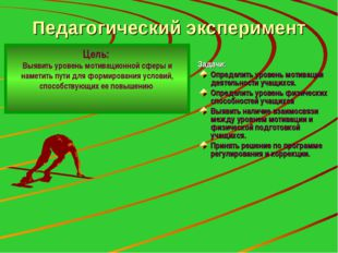 Педагогический эксперимент Задачи: Определить уровень мотивации деятельности