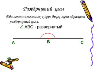 Развёрнутый угол Два дополнительных к друг другу луча образуют развернутый уг