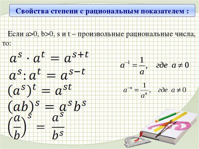 Свойства степени с рациональным показателем : Если а>0, b>0, s и t – произвол...