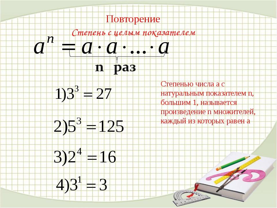 Повторение Степень с целым показателем Степенью числа а с натуральным показа...