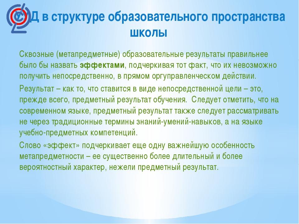 УУД в структуре образовательного пространства школы Сквозные (метапредметные)...